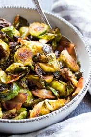Garlic Balsamic Roasted Brussels Sprouts with Bacon {Paleo, Whole30}