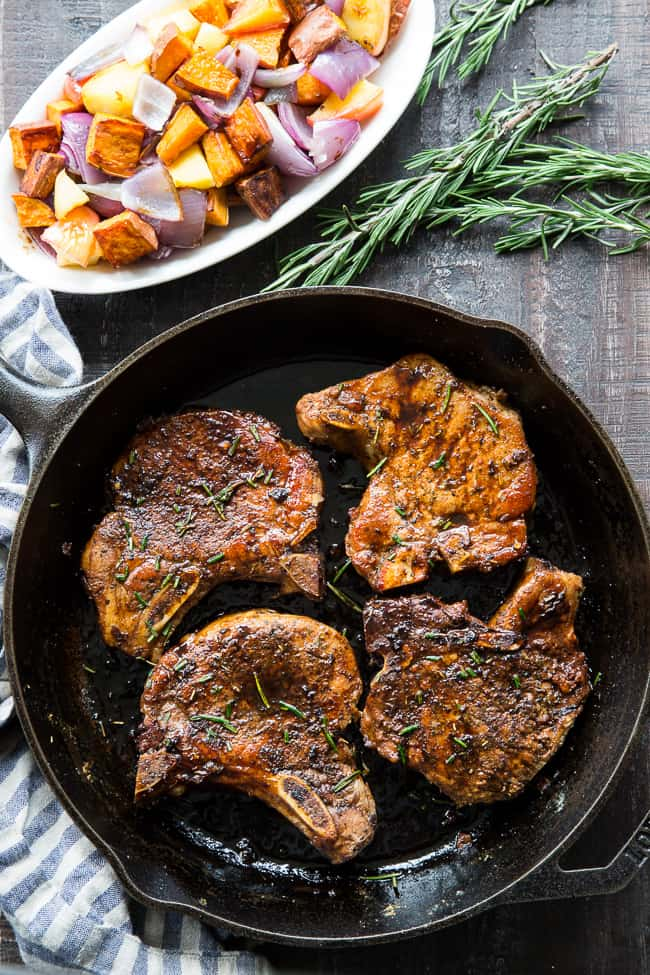 Balsamic Pork Chops with Sweet Potatoes and Apples {Paleo, Whole30}