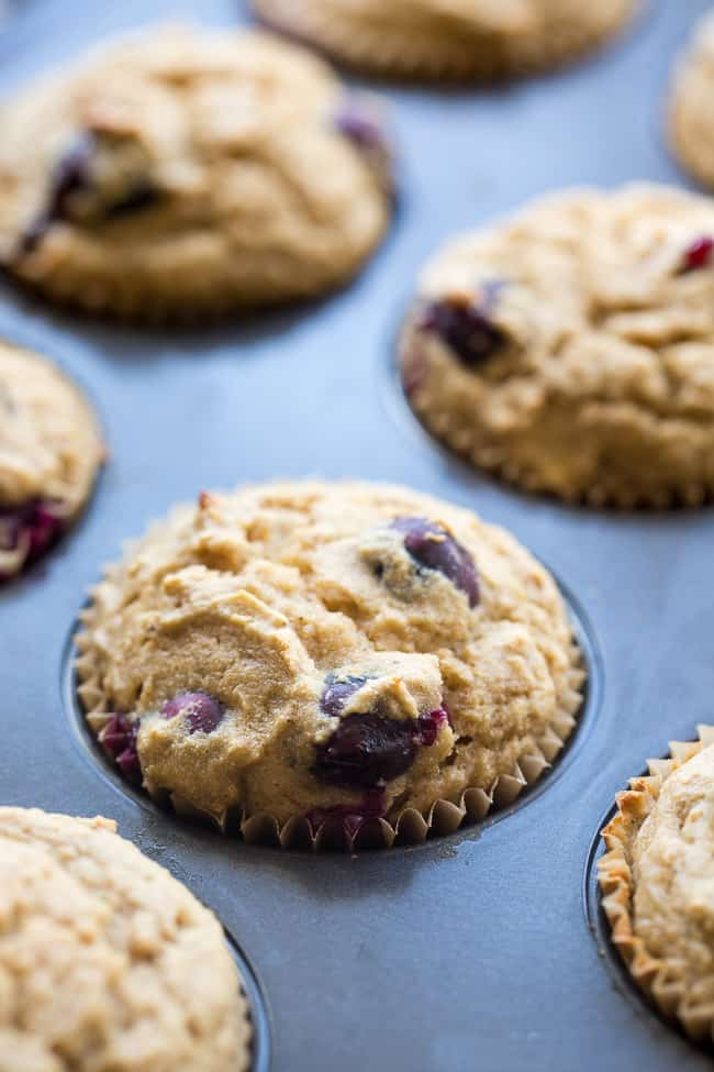 These classic blueberry muffins have a hearty and moist texture thanks to cassava flour and are bursting with flavor and juicy blueberries!  They're grain free, nut free, dairy free and paleo, family approved, and great for breakfasts and snacks!