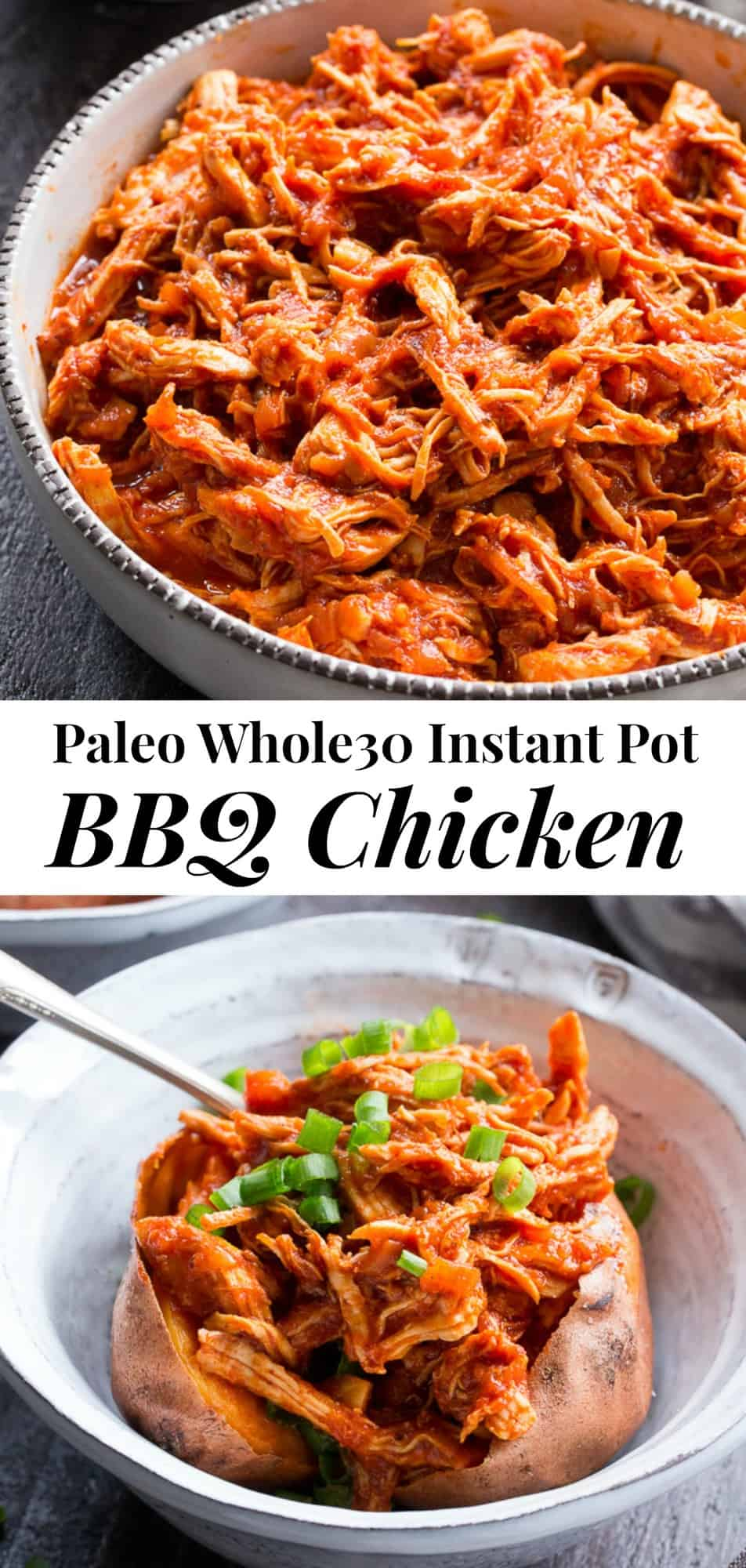This simple Paleo and Whole30 Instant Pot BBQ Chicken is packed with flavor and perfect over a sweet potato or your favorite greens! An easy homemade BBQ sauce is cooked right in with the chicken for a meal that's ready in 20 minutes - perfect for weeknight dinners and family approved! #whole30 #paleo #cleaneating