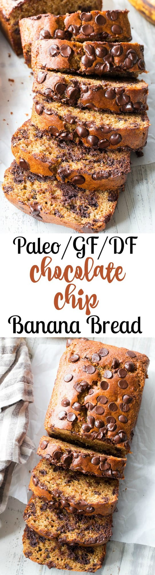 This Paleo chocolate chip banana bread is made with almond butter and almond flour, hearty and delicious with the perfect amount of sweetness.  Gluten-free, dairy-free, grain free, family approved, and great for breakfast or dessert!