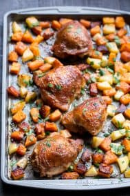 Glazed Sheet Pan Chicken with Butternut Squash and Apples {Paleo, Whole30}