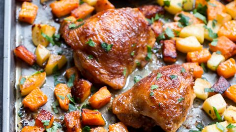 Glazed Sheet Pan Chicken With Butternut Squash And Apples Paleo