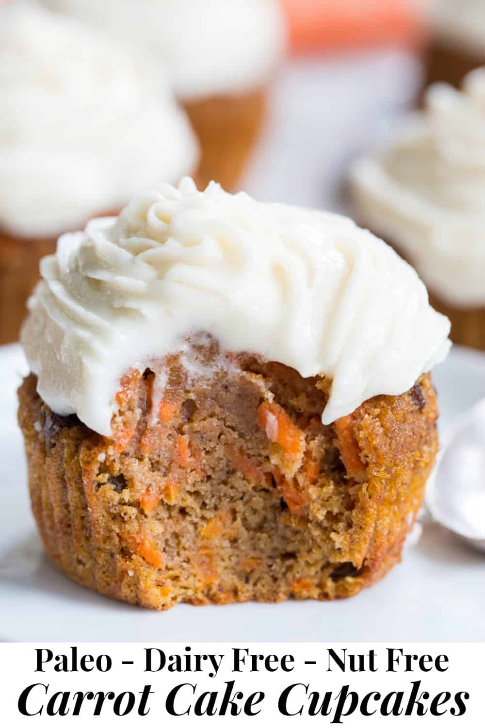 "These dreamy carrot cake cupcakes are made with coconut and tapioca flour and sweetened with maple syrup, making them both paleo and nut free.   They're topped with a sweet creamy paleo vanilla ""buttercream"" that tastes just like real thing!  #paleo #glutenfree #nutfree"