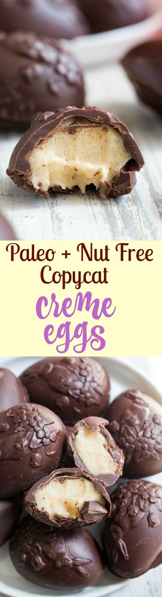 These homemade copycat Cadbury Creme Eggs are a rich and decadent paleo chocolate treat that everyone will love!  Easy to make - the filling comes together in just a few minutes and contains no nuts or refined sugar, and has a dairy free option.