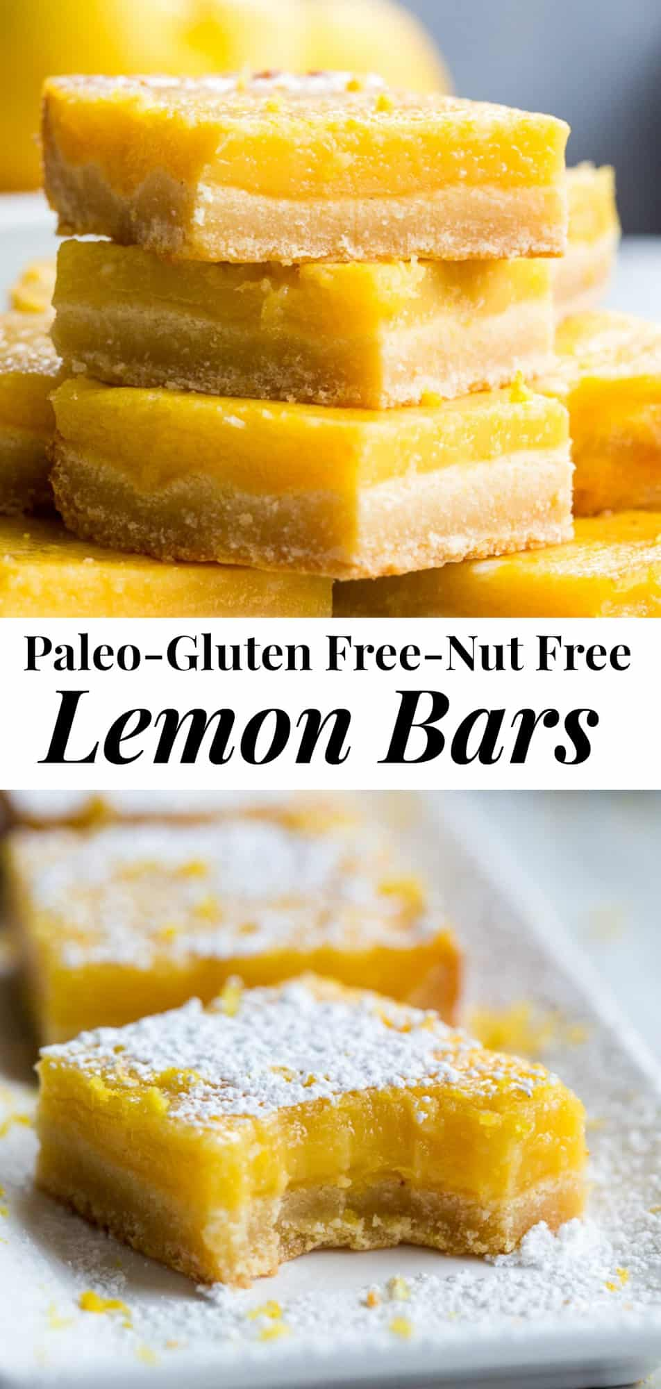 These creamy paleo lemon bars have a nut free, grain free honey-sweetened shortbread crust with a perfectly sweet-tart lemon custard layer to top!  Dust with organic powdered sugar or dollop with coconut whipped cream for a deliciously dreamy dessert! #lemonbars #glutenfree #paleo #nutfree