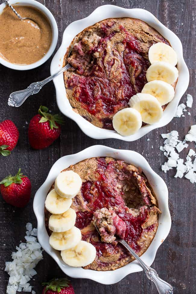 This Almond Butter and Jelly N'Oatmeal Breakfast Bake has a flavor and texture reminiscent of baked oatmeal, yet it's grain free and paleo!  It's a perfect option for breakfast when you want something naturally sweet but want to keep things clean.  It's also egg free, vegan, and family approved!