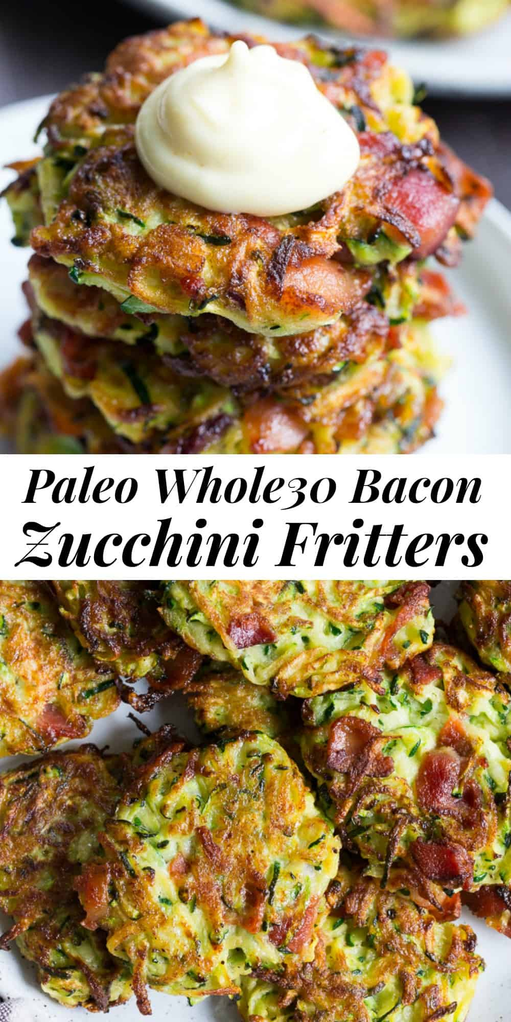 These savory bacon zucchini fritters are easy to make, packed with veggies and downright addicting!  They're delicious served as a side dish or appetizer with homemade ranch dip.  These healthy fritters are also paleo, Whole30 friendly, gluten free and dairy free. #paleo #whole30 #lowcarb #keto #zucchini