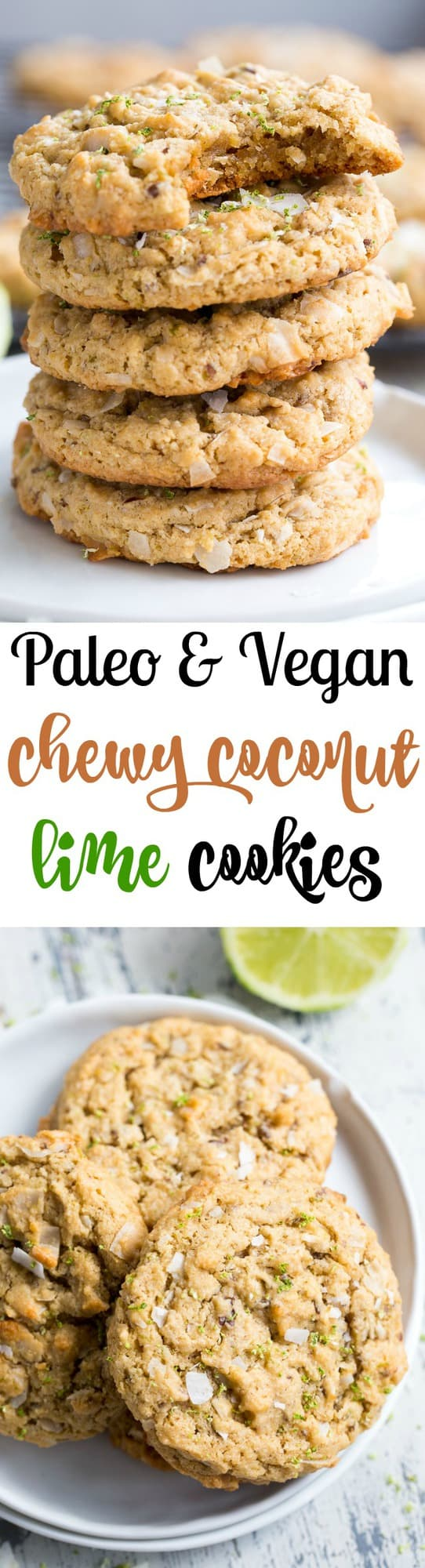 These paleo and vegan lime coconut cookies are packed with flavor, super chewy, sweet and perfect for spring and summer gatherings!  They're family approved, gluten-free, dairy-free, egg free and seriously addicting.