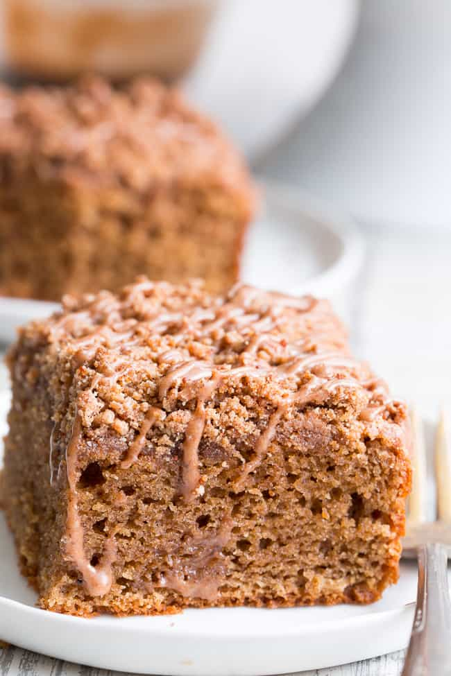 This classic cinnamon coffee cake has it all - a deliciously light, sweet, moist cake topped with loads of cinnamon crumbs and even an optional cinnamon icing!  It's paleo, gluten-free, dairy-free, kid approved and perfect for brunches, snacks and dessert.