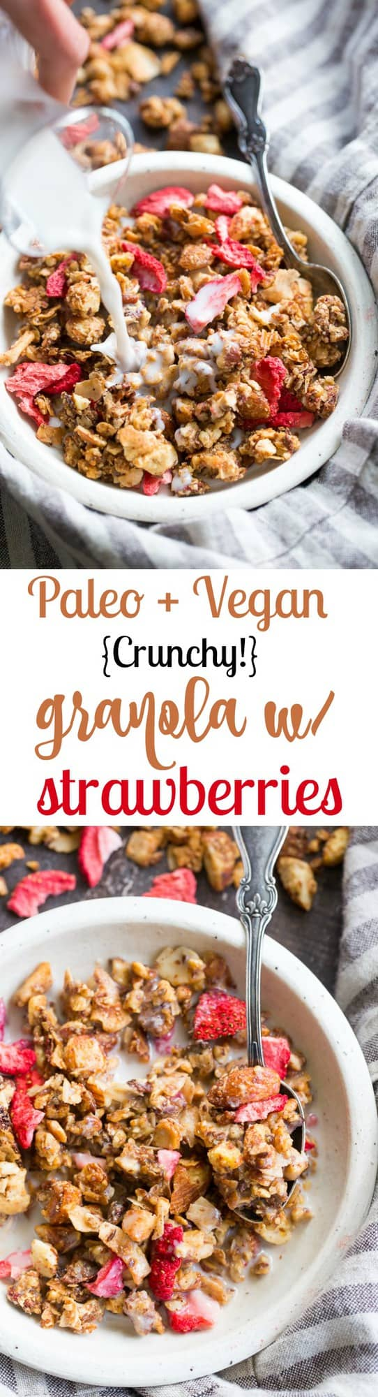 This crunchy grain free granola is packed with toasty sweet clusters and freeze dried strawberries for a breakfast or snack that you won't believe is actually good for you!  It's paleo, vegan, free of refined sugar and family approved!