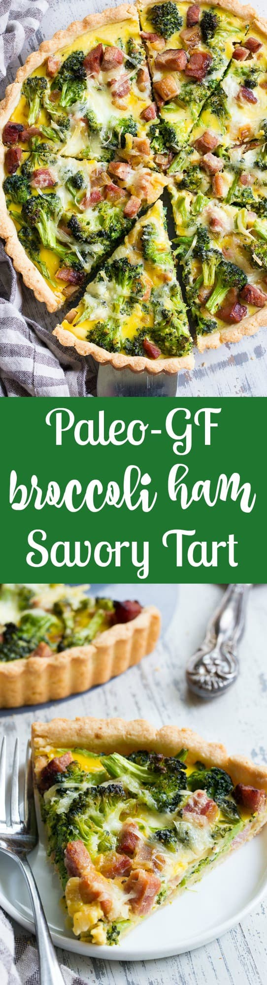 This grain free and paleo savory tart begins with the perfect paleo crust loaded with chopped broccoli and sugar-free ham, plus a creamy egg mixture with a dairy-free option.  This amazing savory tart is a family favorite, kid approved and perfect for brunch or as a make ahead breakfast!