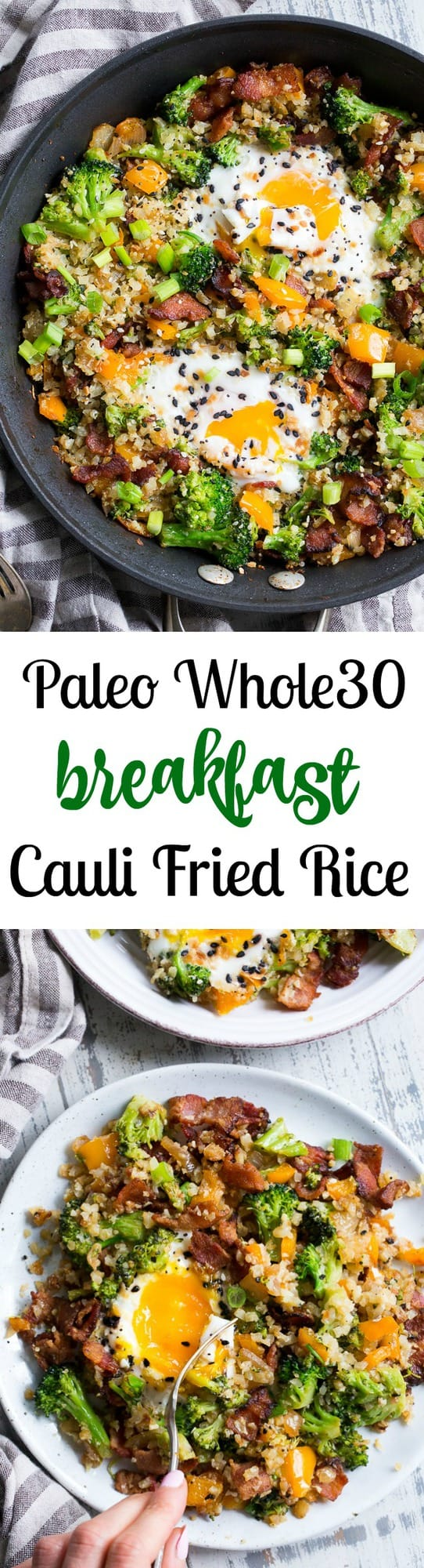 This breakfast cauliflower fried rice is savory, filling, and ridiculously tasty! It's packed with veggies, bacon, seasoned just right, and topped with perfectly cooked eggs. This breakfast anytime meal is also Paleo, Whole30, low carb and keto friendly!
