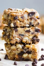 No Bake Granola Bars with Raisins and Chocolate Chips {Grain Free, Paleo}