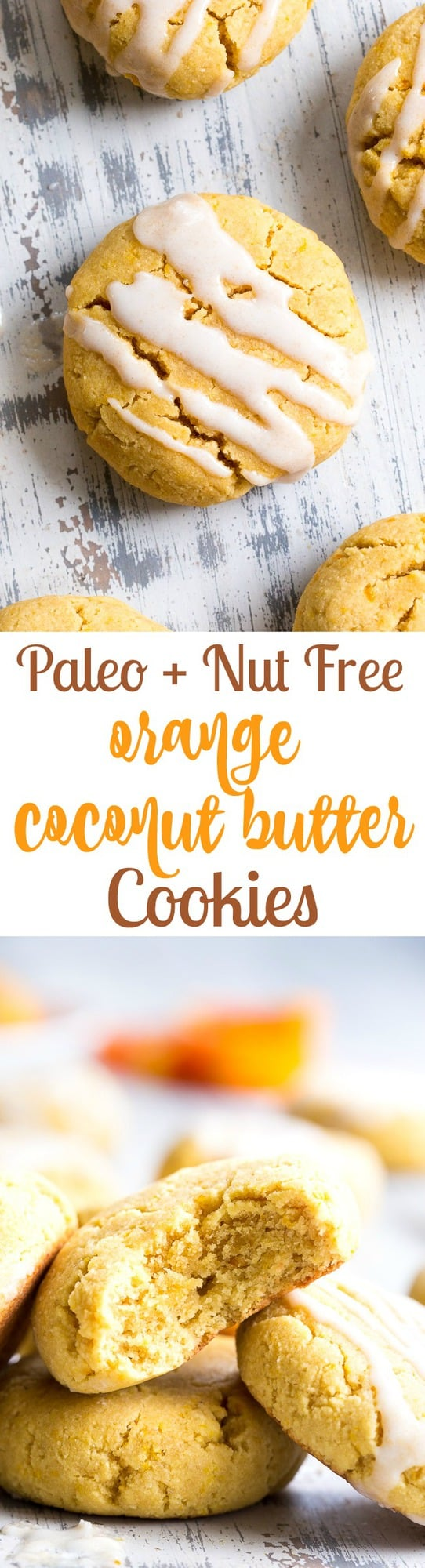 These paleo orange coconut butter cookies have a soft shortbread-like texture and tons of sweet citrus flavor!  They're made with coconut butter and coconut flour, so they're grain free, gluten free, dairy free and nut free. These addicting cookies are kid approved and delicious with a coconut maple icing!