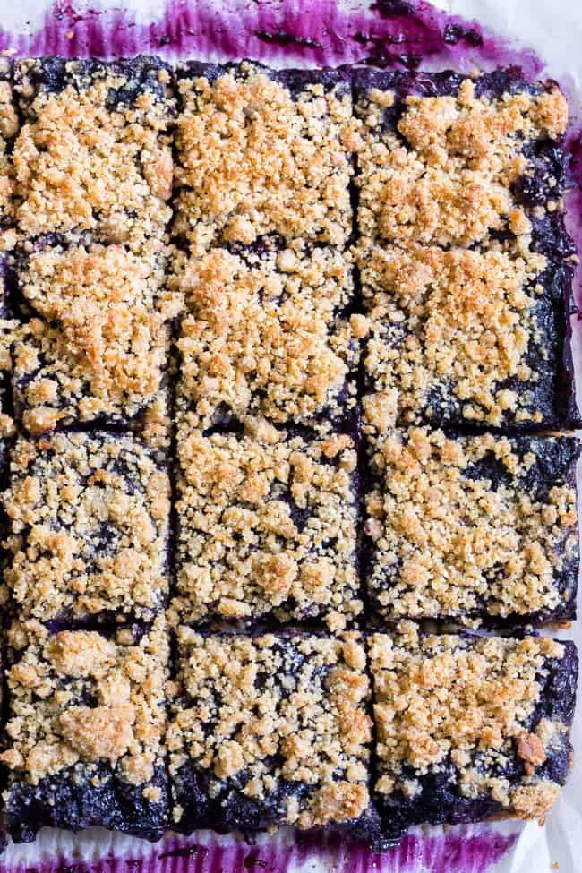 These paleo and vegan blueberry crumb bars are gooey sweet and totally addicting! They're a great treat to have around for a heathy snack or dessert. Easy to make, gluten-free, grain free, vegan, and total comfort food!
