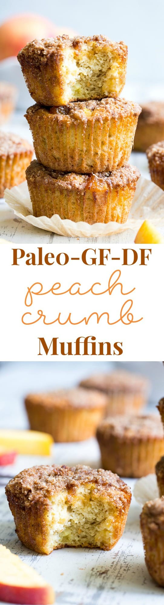 These Paleo peach muffins have double the peaches for tons of sweet summer flavor!  Easy peach preserves and chopped fresh peaches are mixed into a grain and dairy free muffin batter and topped with the perfect crumble.  Kid approved and great for summer snacking.
