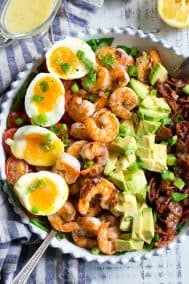 Shrimp Cobb Salad with Lemon Garlic Vinaigrette {Paleo, Whole30}