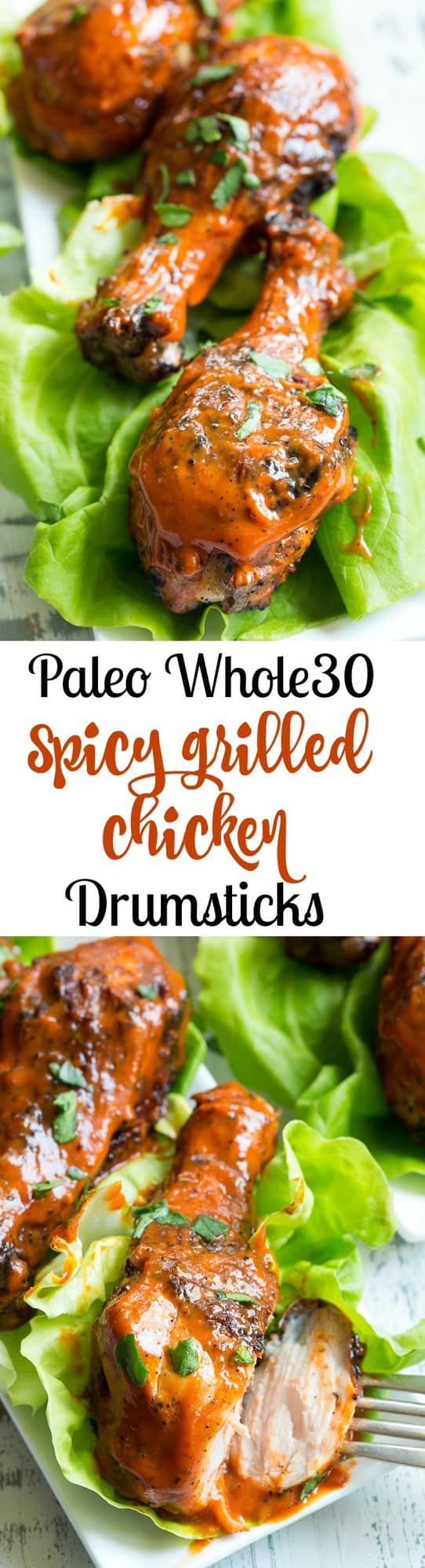 These spicy chicken drumsticks are perfectly seasoned, grilled, and tossed in a spicy, flavor-packed sauce!  Perfect for grilling season (or anytime of year!), family friendly, gluten-free, Paleo and Whole30 compliant.