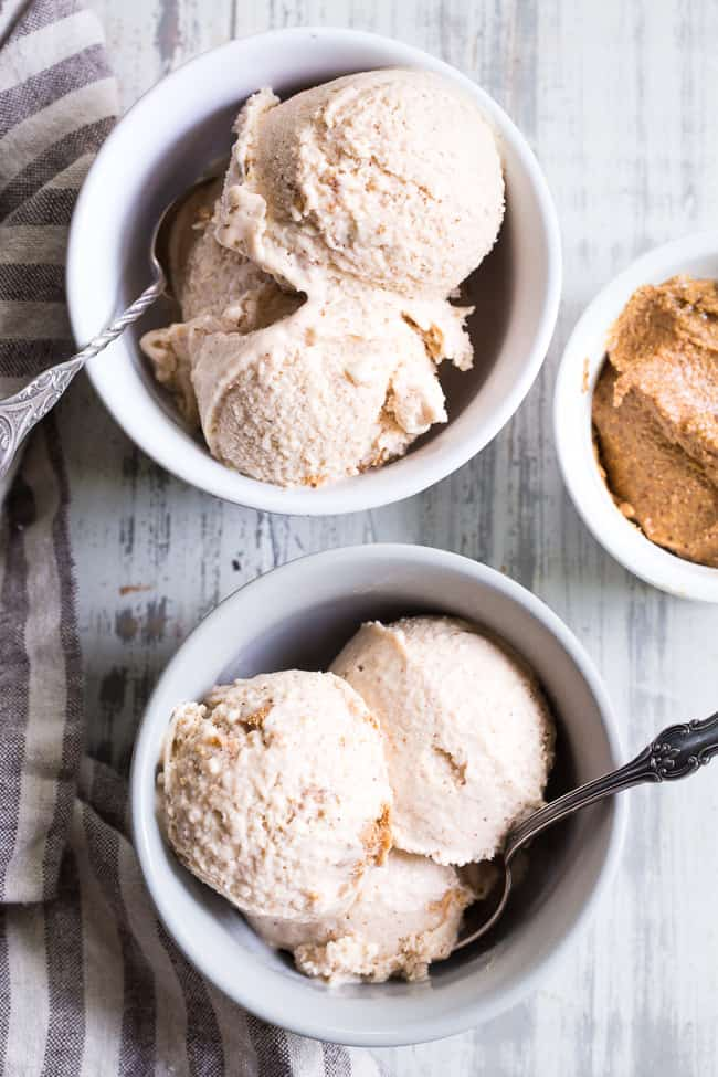 This no-churn almond butter fudge ice cream has a creamy almond butter coconut milk base and is loaded with chunks of almond butter fudge!  It's rich yet made with good-for-you ingredients and contains no refined sugar.  This easy to make ice cream is dairy-free, egg free, vegan and paleo.
