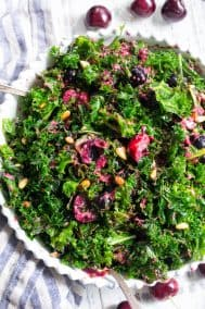 Cherry Berry Kale Salad {Paleo, Whole30, Vegan}