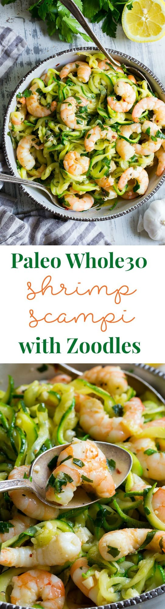 This paleo shrimp scampi is packed with flavor and perfect tossed with zucchini noodles!  Prep your zoodles ahead of time for a quick, easy, and wildly delicious gluten-free, paleo, keto, and Whole30 compliant dinner that's ready in just 20 minutes.