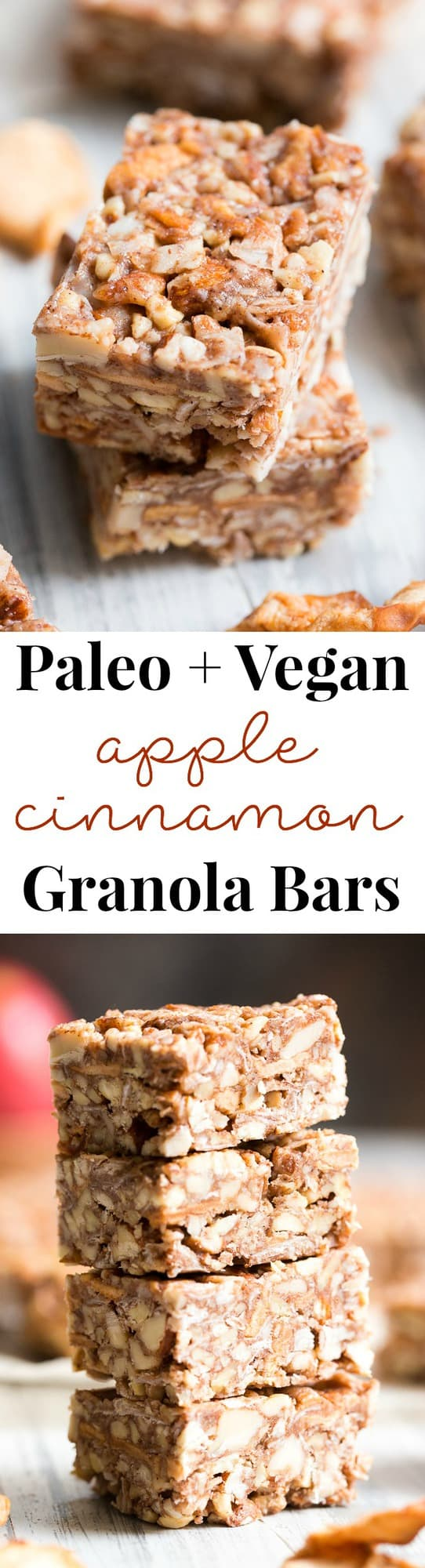These grain free, vegan, and paleo granola bars are packed with warm spices and chopped dried apples for a fun fall touch! They're sweetened with pure maple syrup and contain no refined sugar, grains or dairy. They're chewy, crunchy, family approved and perfect for after school snacks!