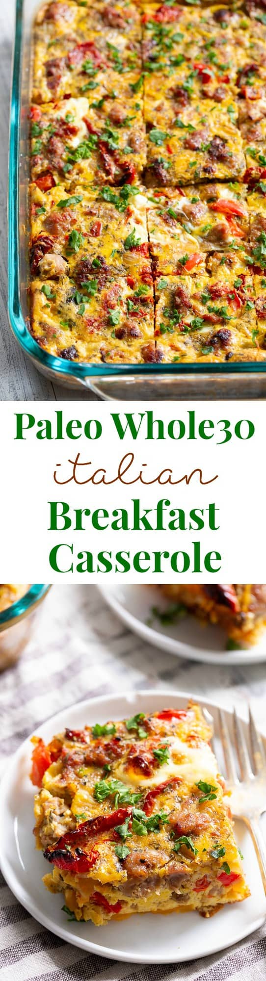 This Italian breakfast casserole is packed with goodies!  Sausage, sun dried tomatoes, peppers, onions, garlic, spices, and a creamy egg mixture!  It's Paleo and Whole30 compliant, great to make ahead, and family approved.