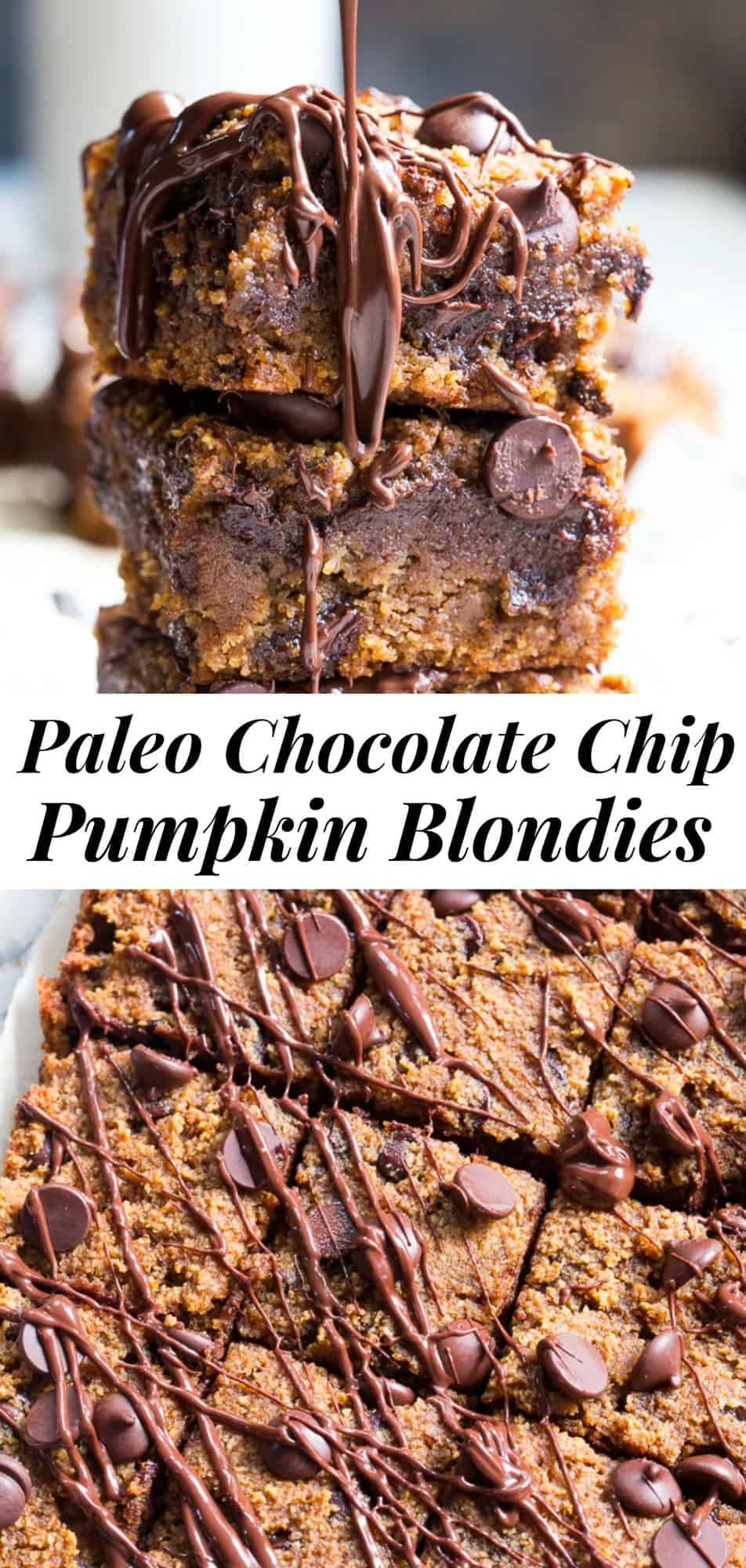 These fudgy Chocolate chip pumpkin blondies are a dream! They're chewy, sweet, packed with chocolate and warm spices. Family approved, perfect for fall baking or any time of year. A great healthy dessert that's kid friendly and easy to make. These addicting pumpkin blondies are paleo, dairy-free, and gluten-free. #paleo #cleaneating #glutenfree #pumpkin