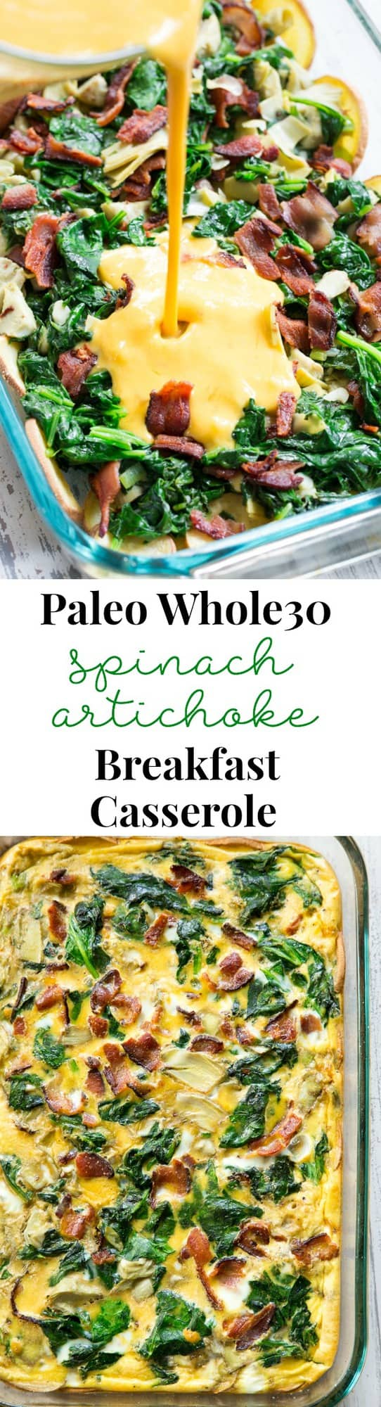 This spinach artichoke breakfast casserole starts with an easy roasted sweet potato crust and is loaded with veggies, bacon, and flavor! Dairy-free, grain free, gluten free, paleo and Whole30 compliant. It's perfect to make ahead of time for easy, satisfying breakfast all week