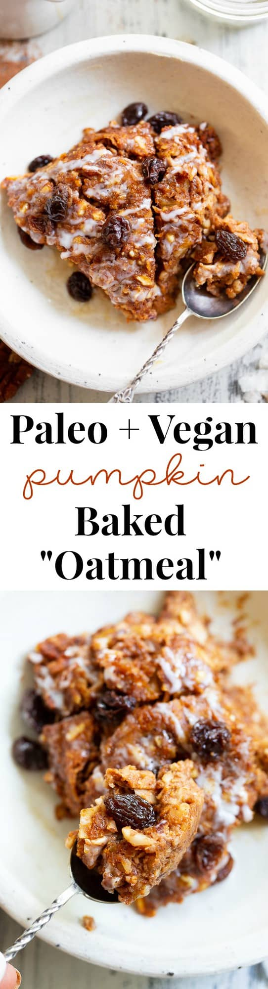 "This pumpkin ""oatmeal"" bake is totally grain free yet tastes just like classic baked oatmeal.  It's packed with pumpkin and pumpkin pie spices, and pure maple syrup adds just the right amount of sweetness.  It reheats perfectly, making it a great fall comfort food breakfast when you're on the go!  Paleo, dairy-free, egg free, and vegan."