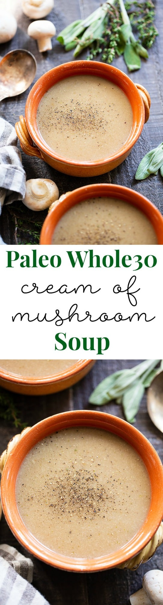 This Paleo Cream of Mushroom Soup is savory and comforting on its own and perfect as a base for so many recipes!  It's simple, fast, and flavorful.  This dairy-free and Whole30 compliant soup is a comforting fall and winter staple.