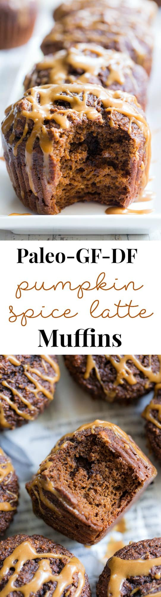 """These Pumpkin Spice Latte Muffins have everything you love about your favorite fall drink, in muffin form! Fluffy, moist muffins packed with pumpkin pie spice and espresso powder drizzled with a dairy-free """"latte"""" icing. They're gluten-free, dairy free, paleo, and one of my favorite baking recipes this fall! Paleo dessert. Paleo pumpkin recipes. Paleo baking. Paleo pumpkin muffins. Pumpkin muffins. Gluten free pumpkin muffins. Healthy pumpkin muffins."""
