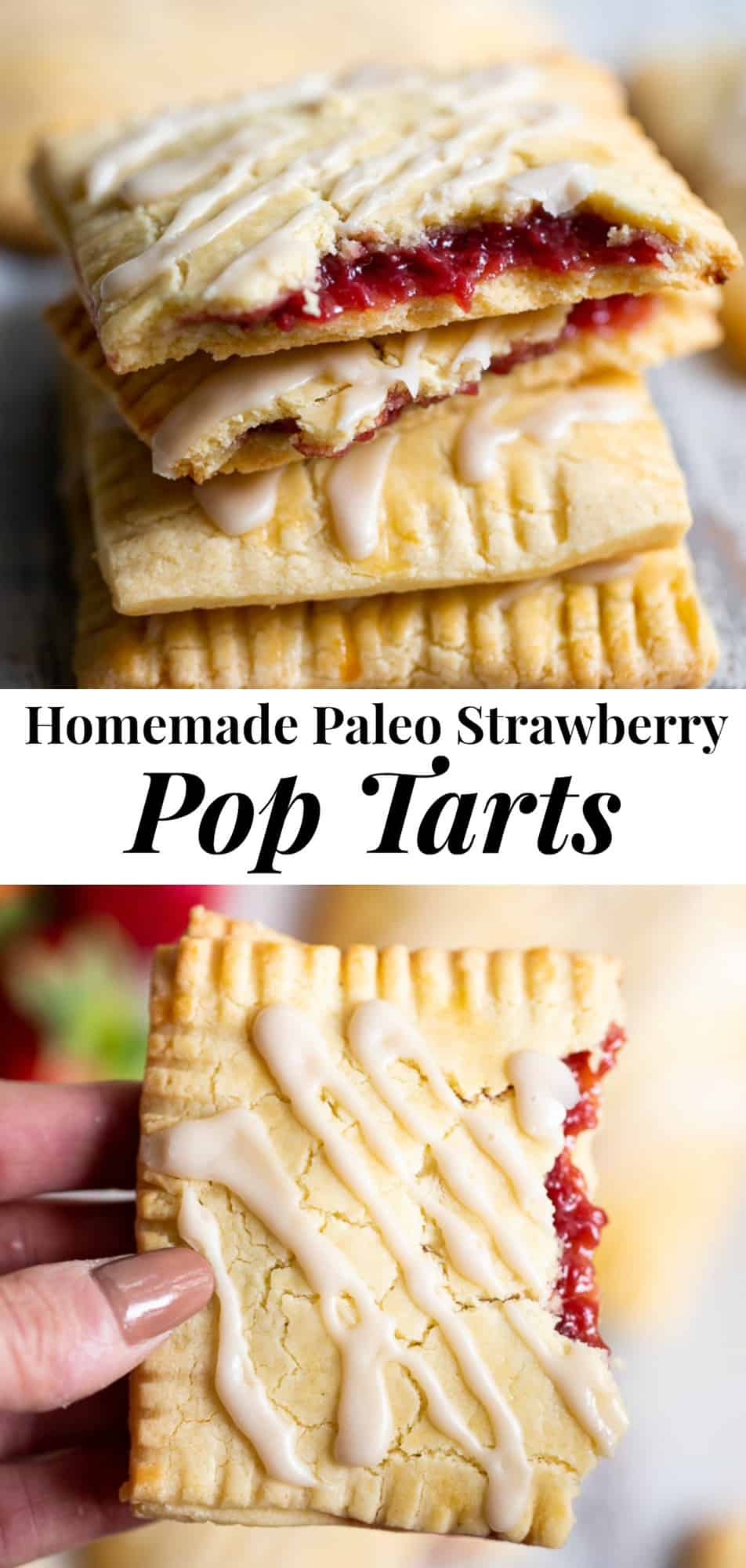 These strawberry homemade pop tarts have passed all the tests! Gooey maple-sweetened strawberry filling in a flaky grain free pastry crust with a dairy free option. Gluten-free, paleo, kid approved, fun to make and freezable! #paleo #glutenfree #poptarts