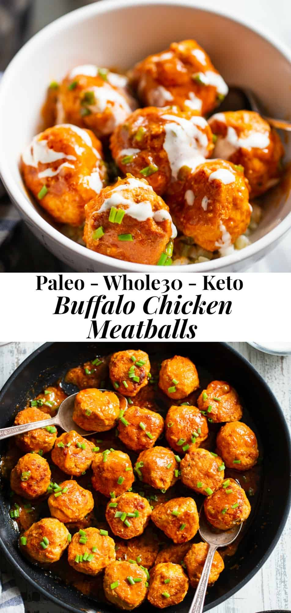 These buffalo chicken meatballs are savory, spicy and super easy to make!  Just one pot and 20 minutes are all you need for these tasty meatballs.  Drizzled with a homemade Whole30 Ranch, they're great as a weeknight dinner over cauliflower rice or alone as a quick appetizer. #paleo #whole30 #keto