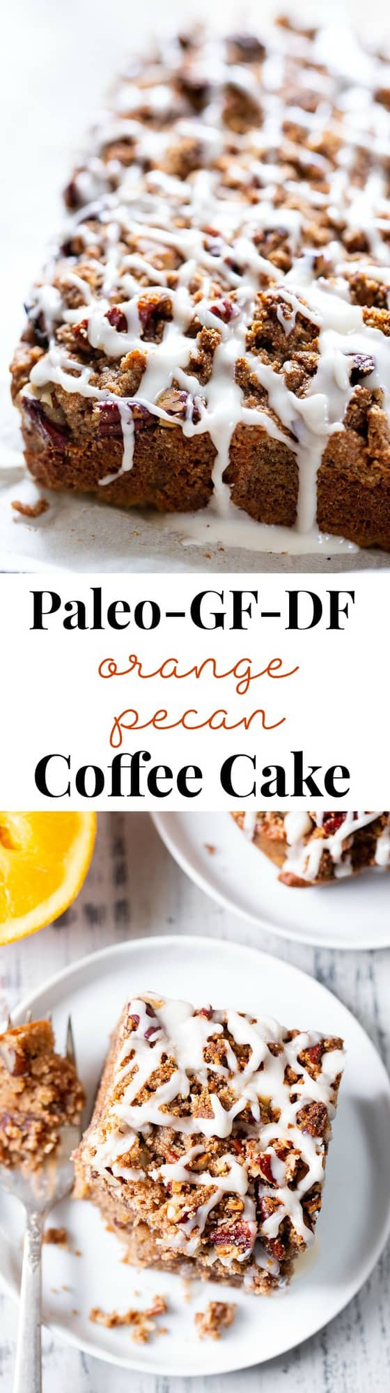 This pecan coffee cake is moist, sweet, with lots of orange and cinnamon flavor and a toasty pecan crumb top. It's gluten-free, grain-free, with dairy-free options. A family favorite that it sure to become a hit in your house!