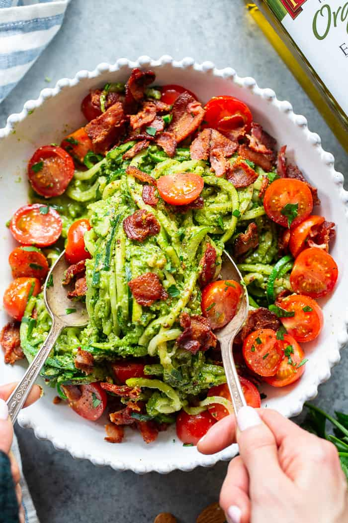 These BLT Pesto Zoodles are packed with savory flavor and crunch! An easy basil pesto plus crispy bacon and tomatoes make these zoodles a favorite for everyone in the family. Gluten-free, dairy-free and Whole30 options, and keto friendly. #AD @Pompeian #pompeian