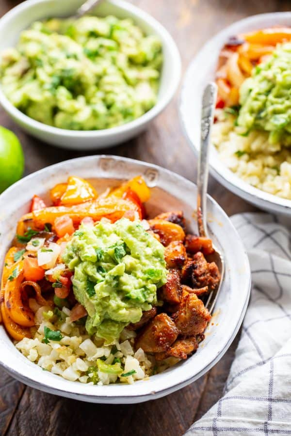 Keto Cauliflower Chicken Burrito Bowl