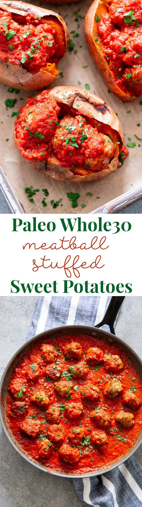 These Italian Meatball Stuffed Sweet Potatoes are flavor packed and easy to make!  Quick and easy pan fried Italian meatballs are simmered in sauce and served over perfectly baked sweet potatoes for a paleo and Whole30 meal that's filing and addicting!