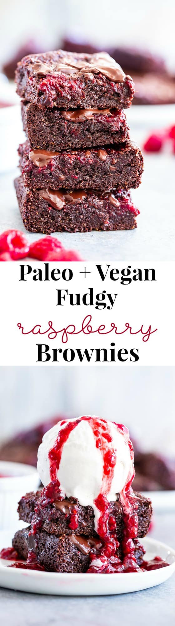 These insanely fudgy raspberry brownies are easy to whip up and just happen to be good for you!  Rich chocolate paleo and vegan brownie batter is baked with an easy raspberry sauce for the ultimate fruit and chocolate combo.  They're gluten-free, dairy-free, and completely addicting!