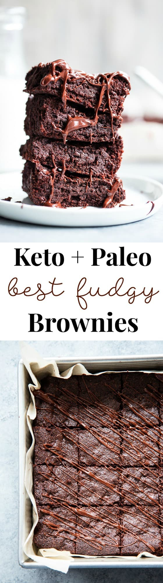 These keto brownies are super chocolatey, dense, fudgy and rich.  Quick and easy to throw together and perfect for when you're craving nothing but chocolate!  They're also dairy-free, paleo, gluten-free, and made in one bowl!