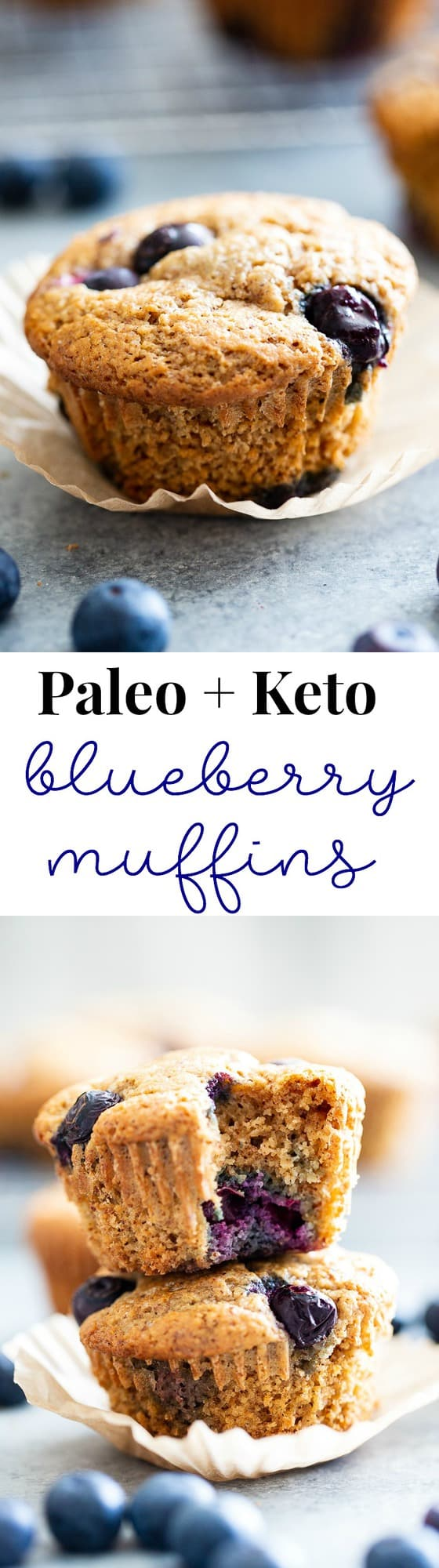 These keto blueberry muffins have a crisp top and a soft, fluffy inside! They have a sweet nutty flavor thanks to almond butter and almond flour, and are loaded with plenty of juicy sweet blueberries. They're paleo, gluten-free, dairy-free, and low carb.