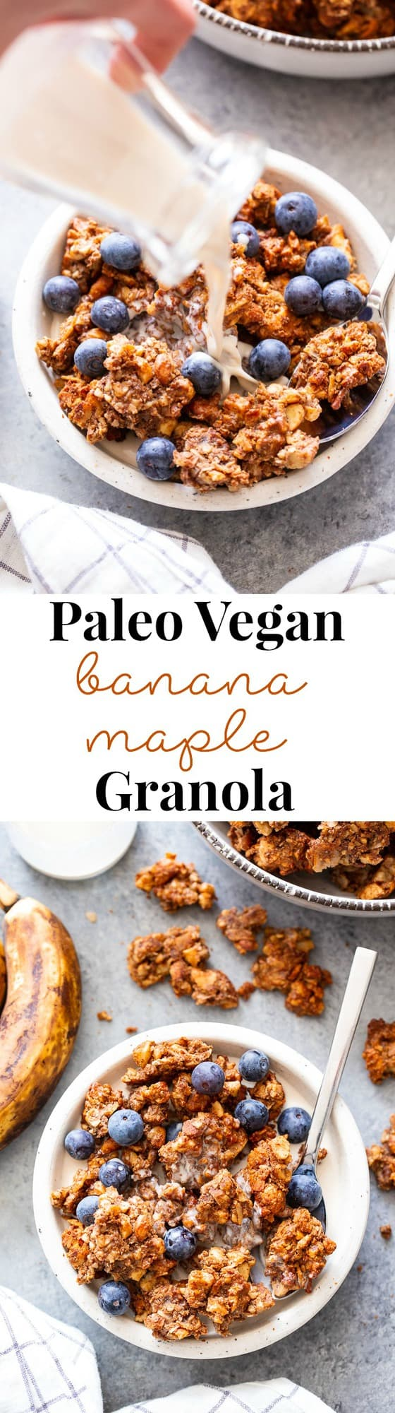 This banana maple nut paleo granola recipe is easy and totally addicting!  It's full of clusters, flavor, and crunch.   Great for topping dairy-free yogurt, as a cereal replacement with almond milk, or snacking on as-is.  It's grain-free, dairy-free, refined sugar free, and vegan.