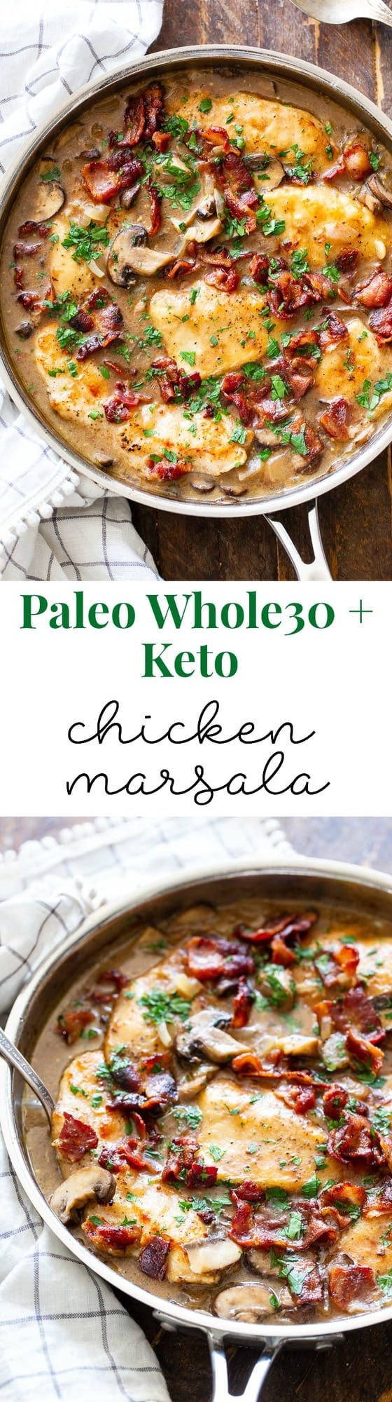 This one-skillet paleo chicken marsala is loaded with flavor!  Juicy chicken, a creamy mushroom sauce and crispy, savory bacon make this a recipe you'll want in your dinner rotation!  It's dairy-free, gluten-free, Paleo, and Whole30 compliant.