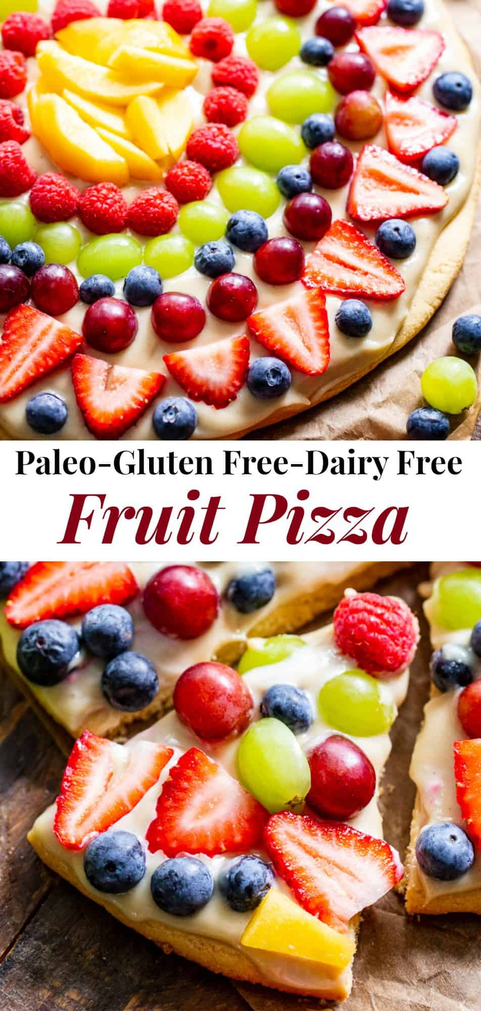 """This paleo fruit pizza has a sugar cookie crust with a cashew """"cream cheese"""" icing and all your favorite seasonal fruit on top! It's gluten-free, grain free, paleo, and the perfect dessert for summer gatherings. #paleo #cleaneating #glutenfree #healthydessert #fruitpizza"""
