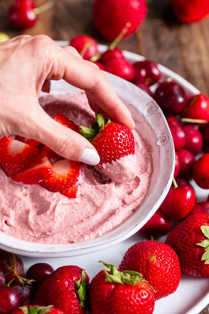 "This creamy strawberry cheesecake dip is perfect for dipping fruit or as a spread on quick breads and muffins.  A strawberry puree  is swirled into a cashew based ""cheesecake"" dip making a fruity, sweet, tangy dip that's great to serve to a crowd."