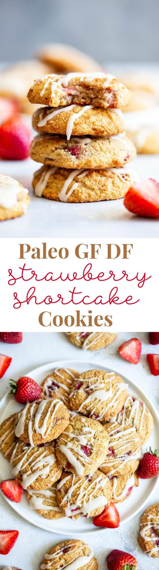 These strawberry shortcake cookies are super soft and cake-like with buttery flavor, loads of sweet juicy strawberries and maple glaze.  They're paleo, grain free, gluten-free, kid approved, and irresistibly delicious!
