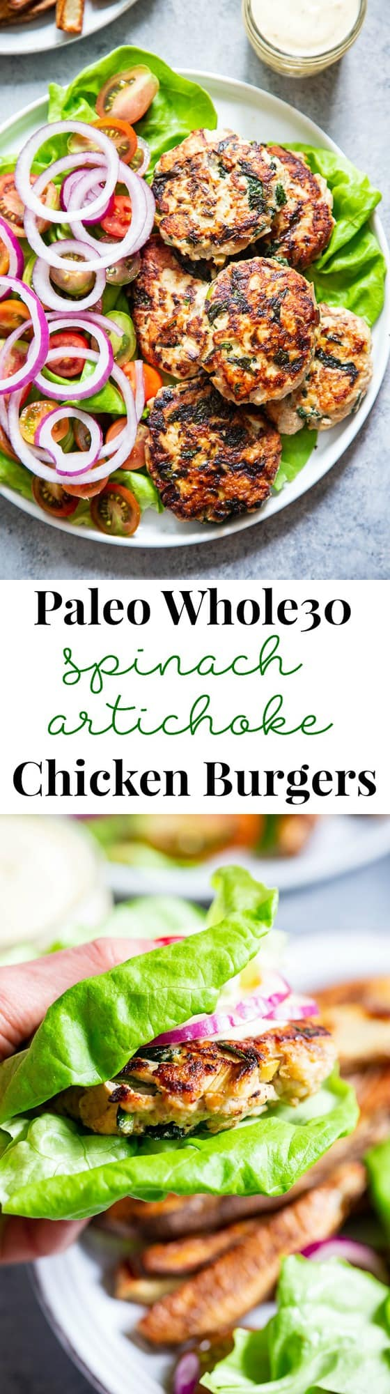 These chicken burgers are packed with veggies and tons of flavor!  A savory spinach artichoke mixture is added to the burgers before they're grilled and topped with more goodies!  Whole30, paleo, and keto friendly.  A healthy way to break out of your burger rut!