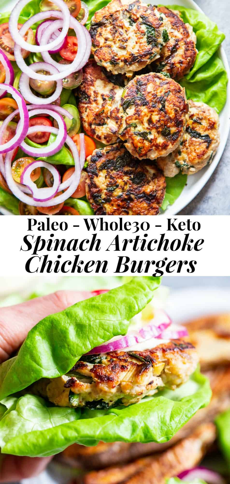 These chicken burgers are packed with veggies and tons of flavor! A savory spinach artichoke mixture is added to the burgers before they're grilled and topped with more goodies! Whole30, paleo, and keto friendly. A healthy way to break out of your burger rut and perfect to make ahead and freeze for meal prep #keto #paleo #whole30