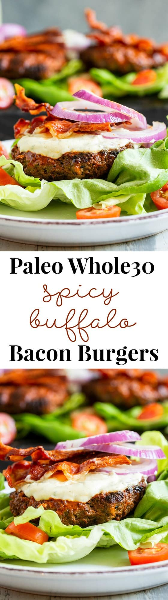 These spicy buffalo burgers are easy to make, and packed with tons of flavor.  Juicy spicy beef burgers are topped with smoky bacon and topped with a homemade cool ranch dressing.  Keep it Whole30 and keto friendly by wrapping in lettuce or serving over a big salad.